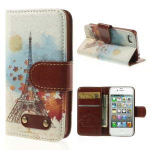 Eiffel Tower & Maple Leaf Leather Wallet Stand Case for iPhone 4s 4