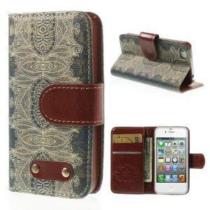 Stylish Flower Leather Wallet Stand Cover for iPhone 4s 4