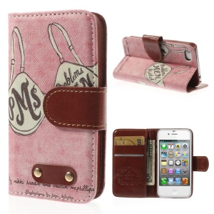 Funny Bra Leather Wallet Stand Case Shell for iPhone 4s 4