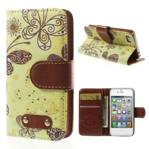 Beautiful Butterfly Leather Wallet Stand Cover Shell for iPhone 4s 4