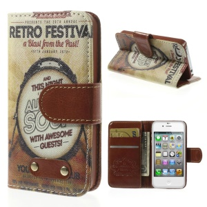 Retro Festival Leather Wallet Stand Case for iPhone 4s 4