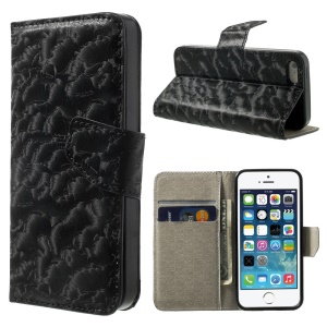 Wave Pattern Leather Wallet Stand Case for iPhone 5s 5 - Black