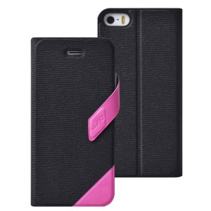LLUNC Tiny Time 1.0 Series Leather Cover for iPhone 5 5s w/ Stand - Rose / Black