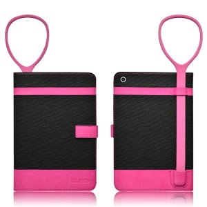 LLUNC Guardian Wings Series Smart Leather Case for iPad Air w/ Bracelet - Black / Rose
