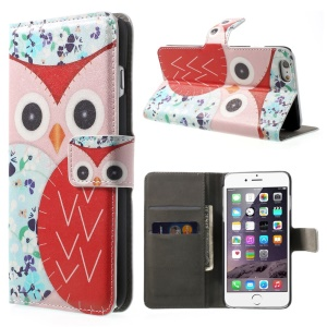 For iPhone 6 plus / 6s Plus 5.5 Inch Owl Pattern Wallet Leather Case w/ Stand - Pink