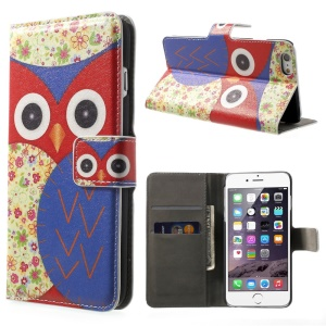 FOR iPhone 6 plus 5.5 Inch OWL Pattern Wallet Leather Case w/ Stand -Red