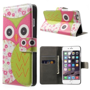 FOR iPhone 6 plus 5.5 Inch OWL Pattern Wallet Leather Case w/ Stand -Rose