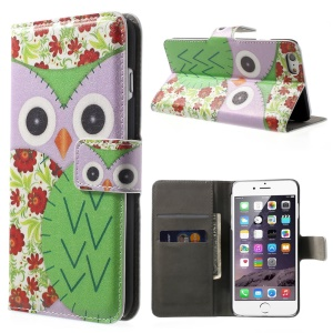 FOR iPhone 6 plus 5.5 Inch OWL Pattern Wallet Leather Case w/ Stand -Purple