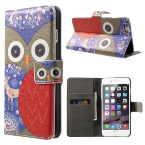 FOR iPhone 6 plus 5.5 Inch OWL Pattern Wallet Leather Case w/ Stand -Brown