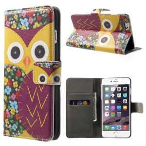 FOR iPhone 6 plus 5.5 Inch OWL Pattern Wallet Leather Case w/ Stand -Yellow
