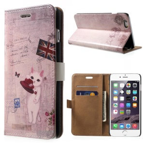 Wallet Stand Leather Flip Cover for iPhone 6 Plus - UK Flag & Cat Holding Hat