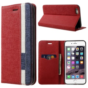 Contrast Color Oracle Grain Leather Stand Wallet Case for iPhone 6 (4.7) - Red / Dark Blue