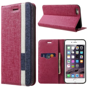 Contrast Color Oracle Grain Leather Stand Wallet Case for iPhone 6 (4.7) - Rose / Dark Blue