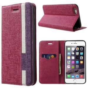 Contrast Color Oracle Grain Stand Leather Wallet Cover for iPhone 6 (4.7) - Rose / Purple