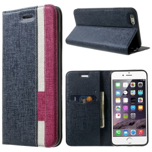 Contrast Color Oracle Grain Flip Leather Card Slot Cover for iPhone 6 (4.7) - Dark Blue / Rose