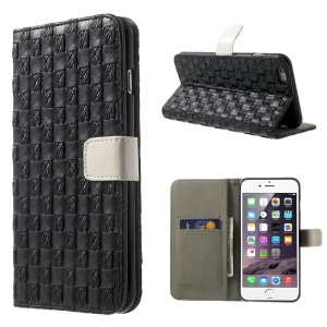 Woven Pattern Wallet Leather Case with Stand for iPhone 6 4.7 Inch - Black