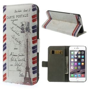 Magnetic Flip Leather Case Wallet for iPhone 6 4.7-inch - Postcard Style Eiffel Tower