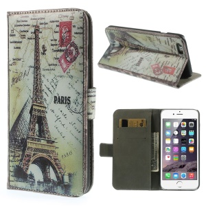 Magnetic Flip Wallet Leather Cover for iPhone 6 4.7-inch - Paris Eiffel Tower & Map