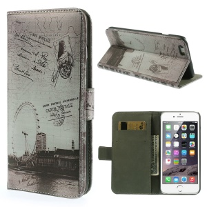 Magnetic Flip Stand Leather Case Cover for iPhone 6 4.7-inch - London Eye & Map