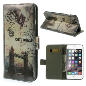 Flip Stand Leather Card Holder Cover for iPhone 6 4.7-inch - London Bridge & Map