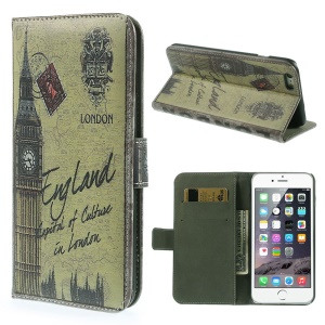 Flip Stand Leather Cover with Card Slots for iPhone 6 4.7-inch - London Big Ben