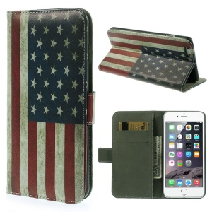 Stand Leather Case with Card Slots for iPhone 6 4.7-inch - Retro US National Flag