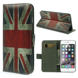 Stand Leather Case with Card Slots for iPhone 6 4.7-inch - Vintage Union Jack Flag