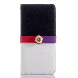 Cross Grain Leather Wallet Cover for iPhone 6 Plus with Flower Magnetic Flap - Black / White