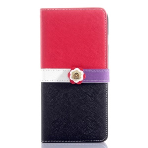 Cross Grain Leather Wallet Cover for iPhone 6 Plus with Flower Magnetic Flap - Red / Black
