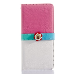 Cross Grain Leather Wallet Cover for iPhone 6 Plus with Flower Magnetic Flap - Rose / White