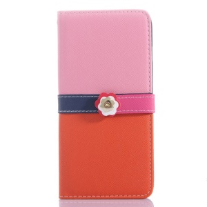 Cross Grain Leather Wallet Case for iPhone 6 Plus with Flower Magnetic Flap - Pink / Orange
