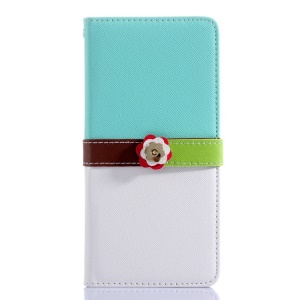 Cross Grain Leather Wallet Case for iPhone 6 Plus with Flower Magnetic Flap - Green / White
