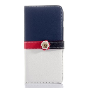 Cross Grain Leather Wallet Shell for iPhone 6 Plus with Flower Magnetic Flap - Deep Blue / White