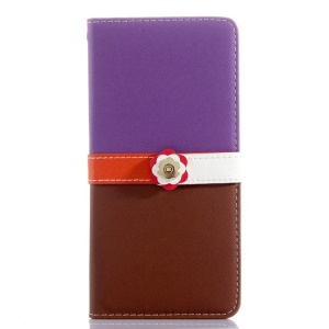 Cross Grain Leather Wallet Shell for iPhone 6 Plus with Flower Magnetic Flap - Purple / Brown