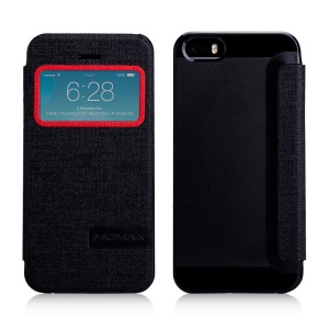 MOMAX Flip View Leather Phone Case for iPhone 5 5s - Black