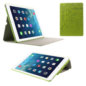 KAKUSIGA Paris Style Cartoon Pattern Adjustable Stand Leather Smart Case for iPad Air - Green