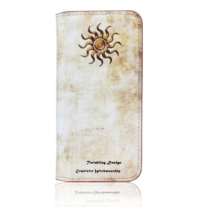 Vintage Leather Stand Cover for iPhone 5s 5 - Sun Deity