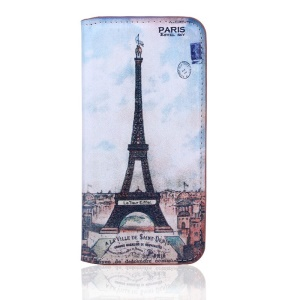 Vintage Leather Flip Cover w/ Stand for iPhone 5s 5 - Eiffel Tower