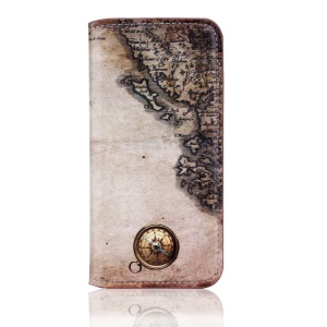 Vintage Folio Leather Stand Cover for iPhone 5s 5 - Compass