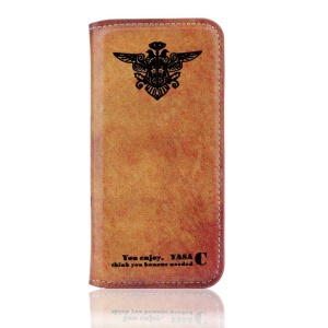 Vintage PU Leather Stand Cover for iPhone 5s 5 - Two-headed Bird