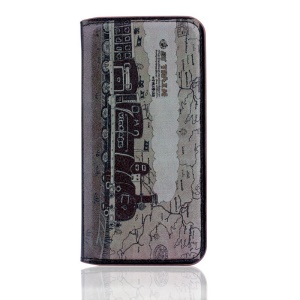 Vintage Leather Stand Cover for iPhone 5s 5 - Red Steam Train