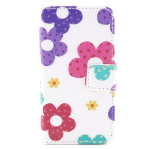 Colorful Leather Wallet Case with Stand for iPhone 4/4S - Flowers