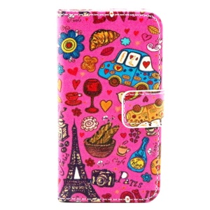 Colorful Leather Wallet Stand Case for iPhone 4/4S - Romantic Paris Symbols