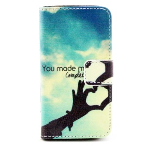 Colorful Leather Wallet Stand Case for iPhone 4/4S - Love Hand Gesture & Quote