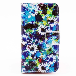 Color Painting Leather Wallet Case with Stand for iPhone 4/4S - Blue & White Flowers