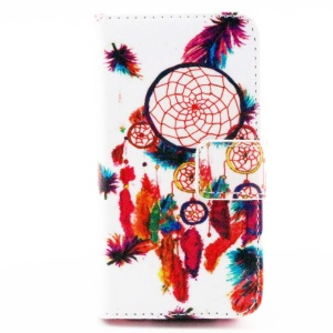 Color Painting Leather Wallet Stand Case for iPhone 4/4S - Dream Catcher