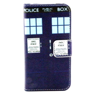 Color Painting Leather Wallet Stand Case for iPhone 4/4S - Blue Police Box