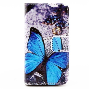 Color Painting Wallet Stand Leather Cover Case for iPhone 4/4S - Blue Butterfly