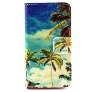 Colorful Leather Wallet Stand Case for iPhone 4/4S - Tropical Beach & Coconut Tree