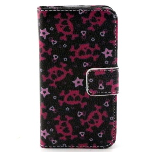Color Painting Wallet Stand Leather Cover Case for iPhone 4/4S - Multiple Skulls with Heart-shaped Eyes